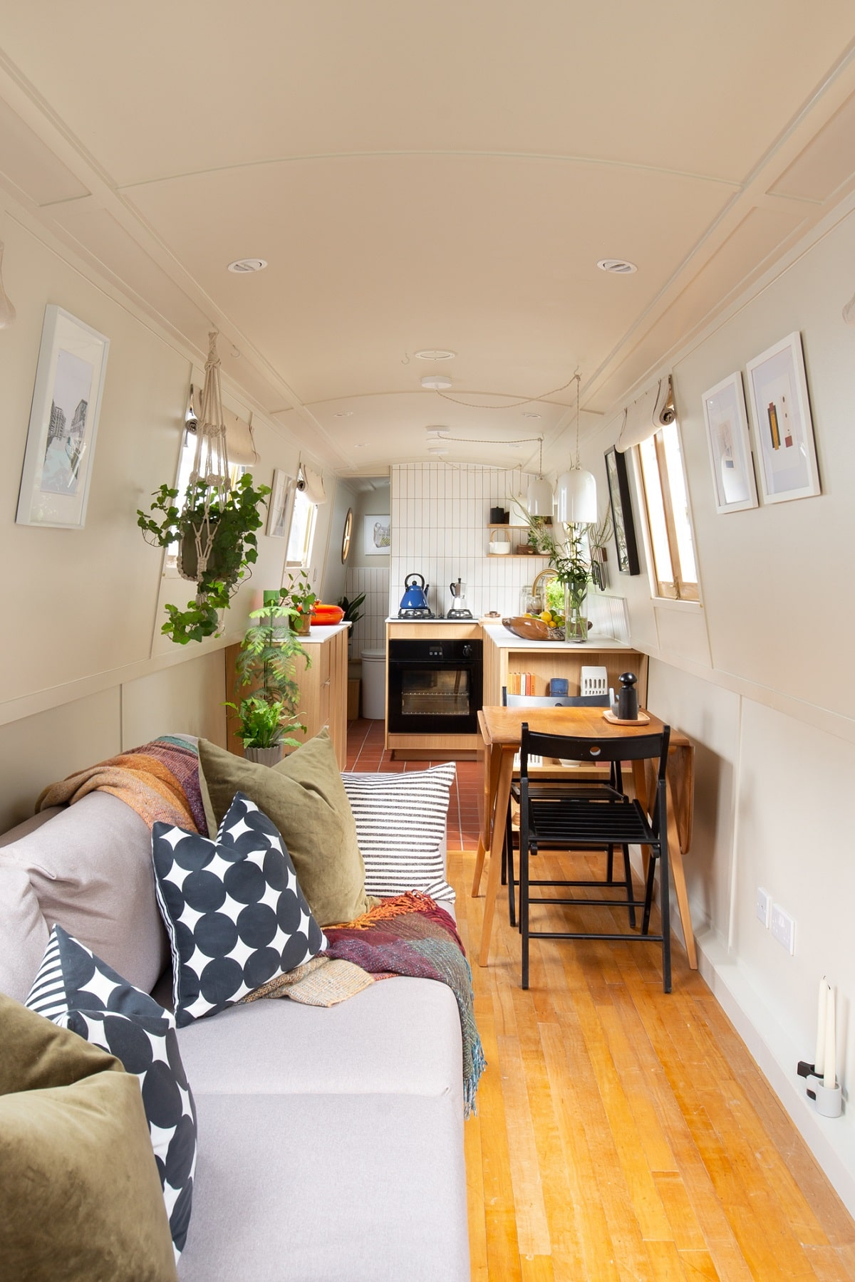 A Narrow but Stylish Houseboat in London