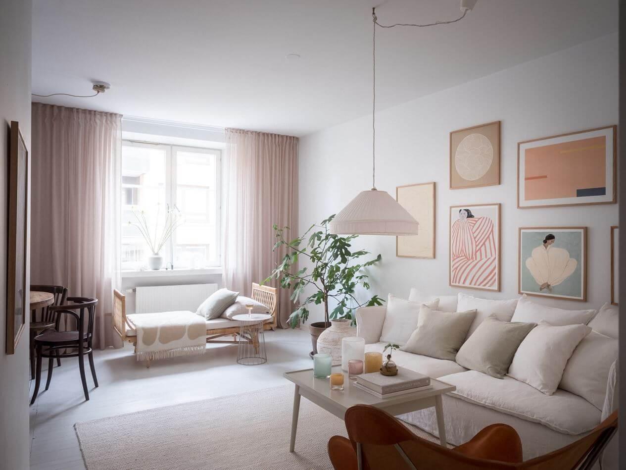 A Soft Scandinavian Home with Dark Blue Bedroom