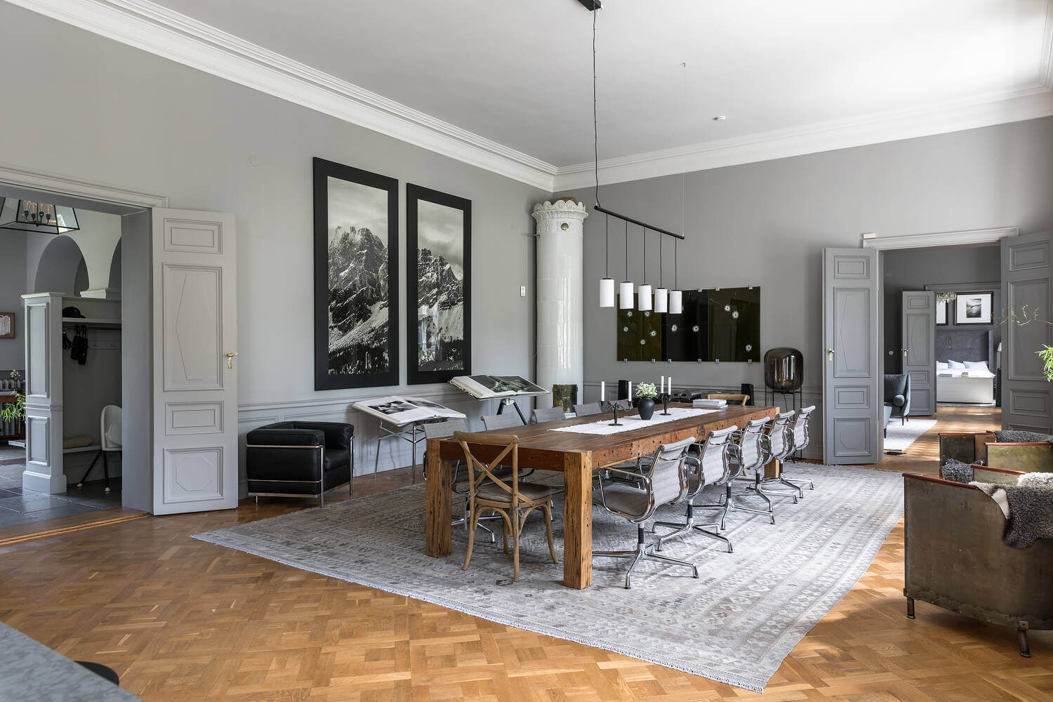 A Stylish Gray Apartment in a Swedish Castle