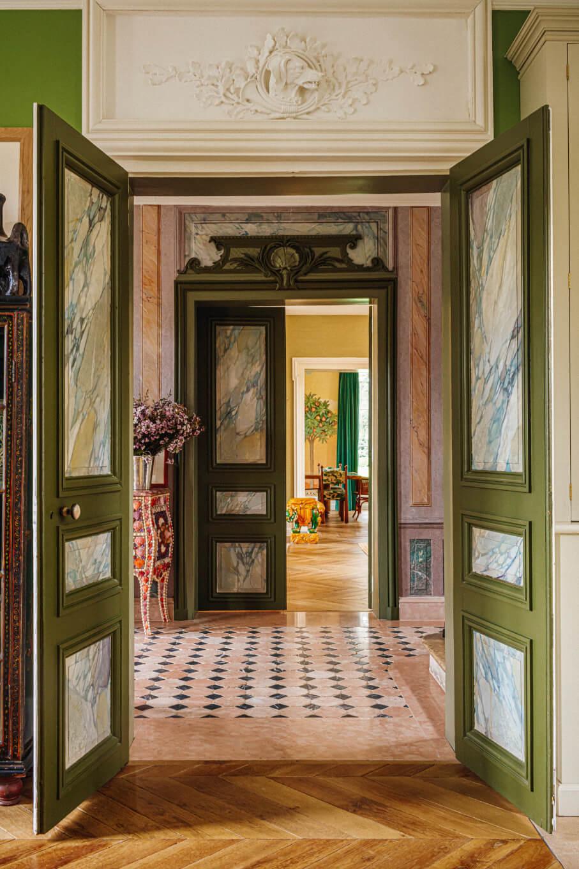 hallway-green-doorframes-eclectic-villa-france-nordroom