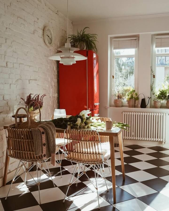 kitchen-black-white-checkerboard-floor-red-smeg-fridge-nordroom