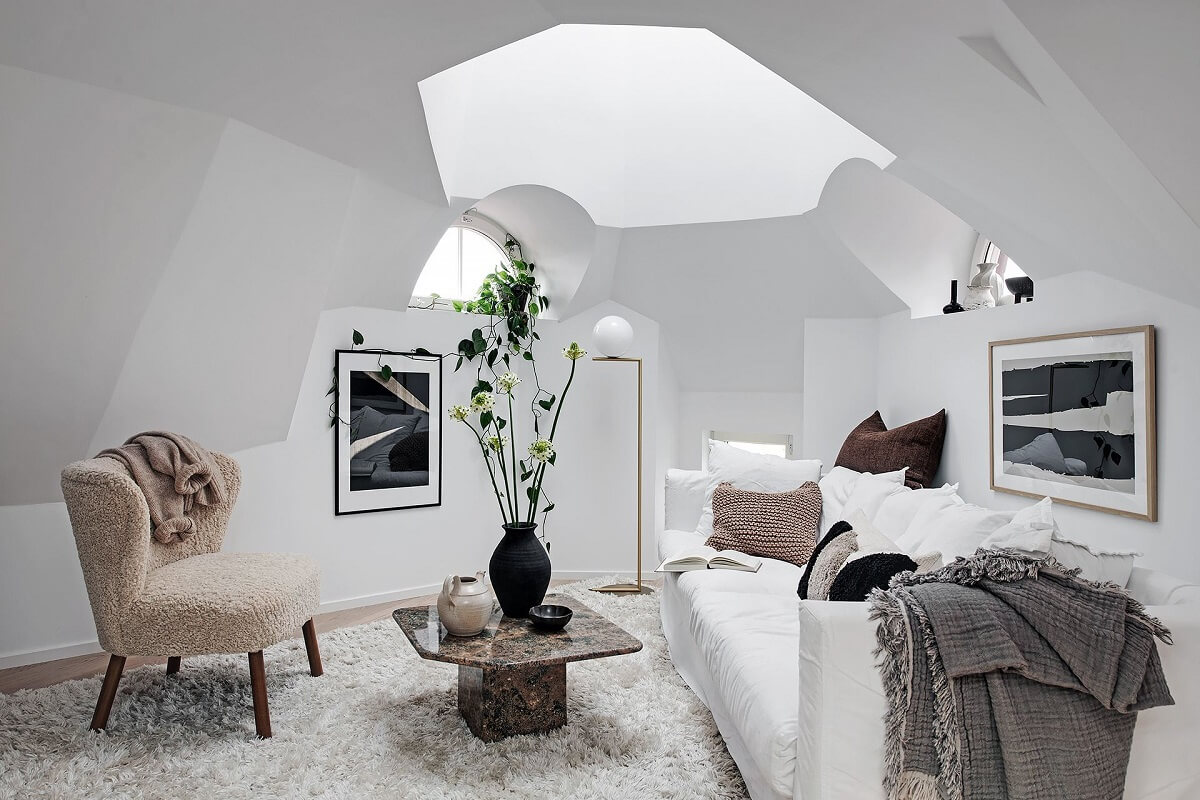 A Tiny but Light Attic Apartment in Sweden