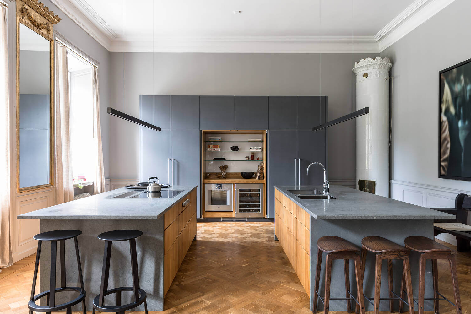 two-kitchen-islands-gray-apartment-sweden-nordroom